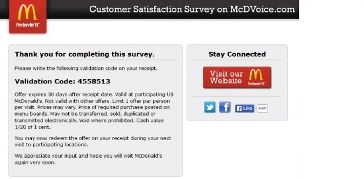 What is mcdonalds validation code
