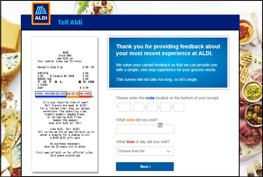 Aldi USA Survey Required Info