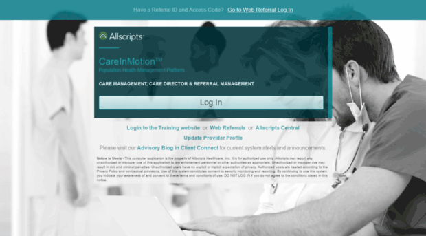 Allscripts Care Management Logon Page