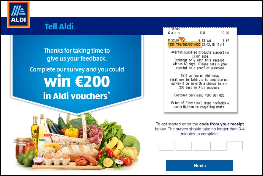 Aldi Ireland Survey Landing Page