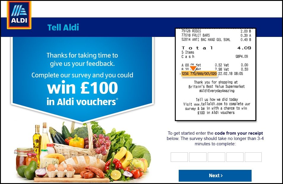 Aldi UK Survey Required Info