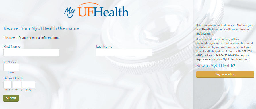 MyUFHealth-Login-Recover-Username-at-Mychart.shands.org